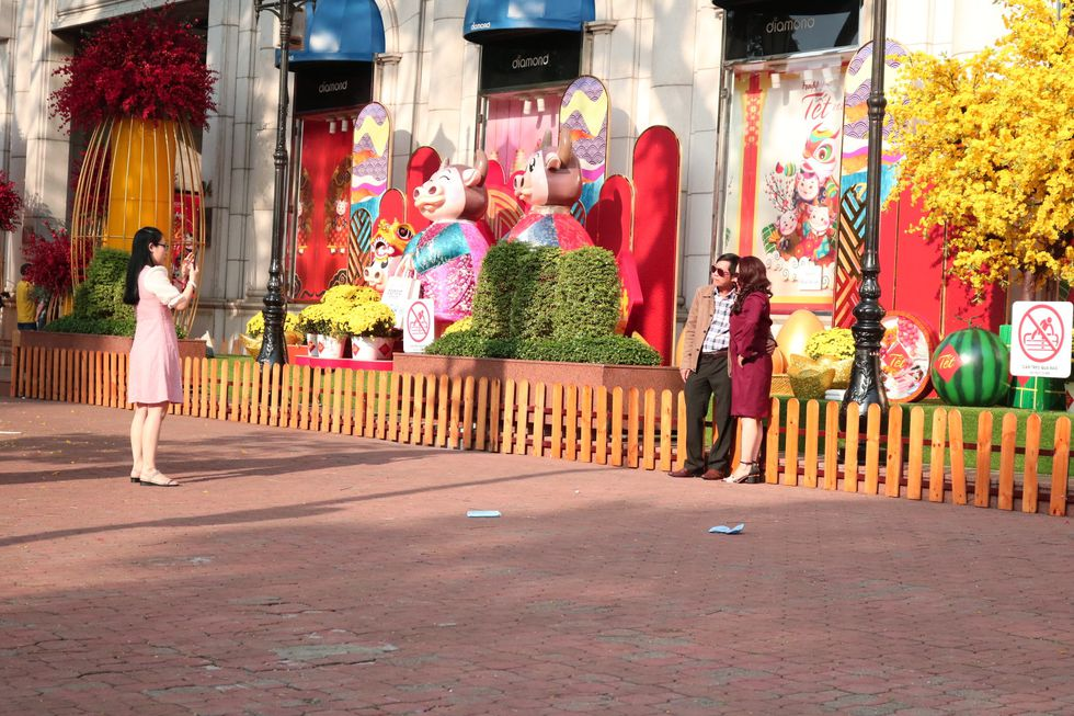 Saigon Street in the early morning on the first day of Lunar New Year