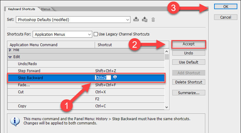 How to undo multiple times in Photoshop