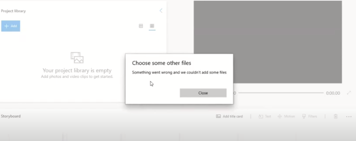 How to fix video editor error: Something went wrong and we couldn't add some files