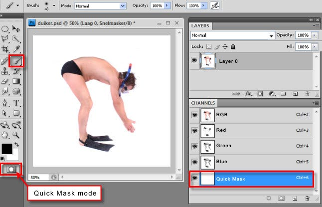 How to turn off quick mask in photoshop